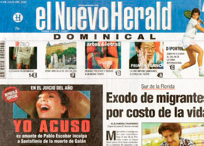 El Nuevo Herald, July 16th 2006, special report on Virginia Vallejo's testimony against senator Alberto Santofimio